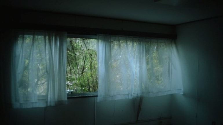 Curtains in the room fluttering in the wind