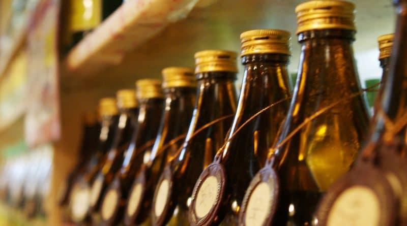 bottles of shochu on a shelf