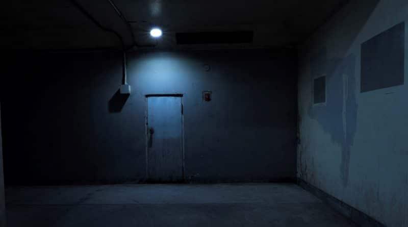 an old door in the dark room