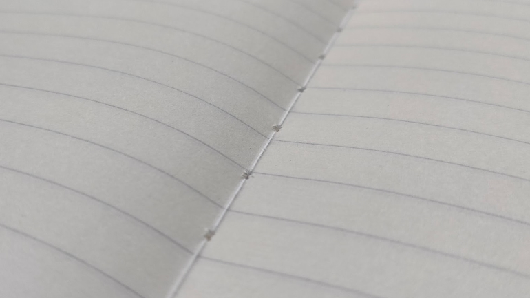 sewn binding and water-based lines on tsubame notebook